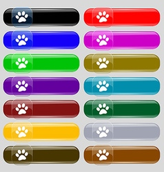 Paw icon sign set from fourteen multi-colored vector