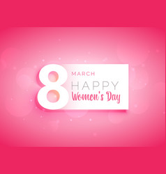 Pink womans day greeting card design vector
