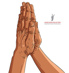 Praying hands African ethnicity detailed vector image