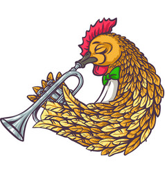 rooster with trumpet vector image vector image