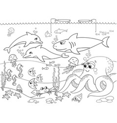 Seabed with marine animals coloring for vector