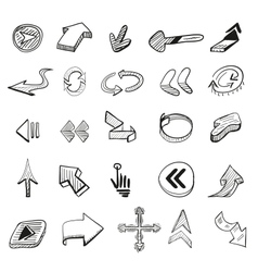 set 25 hand drawn arrows vector image
