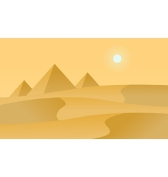 Silhouette of desert and sun landscape vector