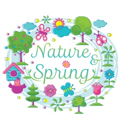 Spring Season Object Icons Heading Hand Draw Style vector image vector image