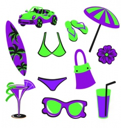 summer items vector image vector image