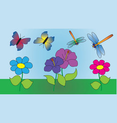 Two butterflies and two dragonflies fly vector