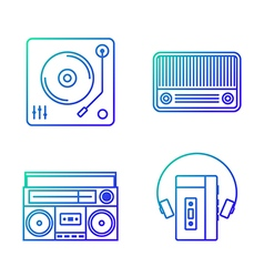 Retro music player outline icon set vector