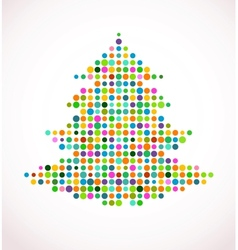 Christmas tree with abstract colorful doted vector image