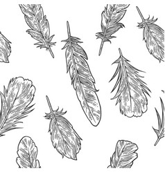Set feathers vintage black engraving vector