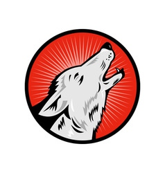 Wolf howling side view vector