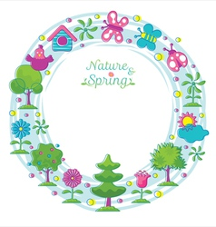 Spring season object icons wreath hand draw style vector