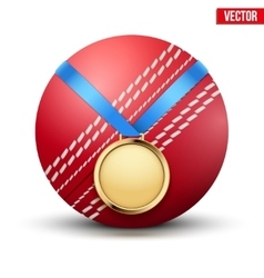 Sport gold medal with ribbon for winning of vector