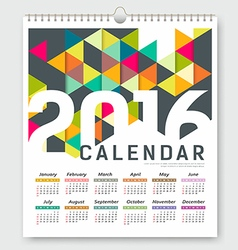 Calendar 2016 colorful triangle geometric vector