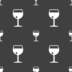 Glass of wine icon sign seamless pattern on a gray vector