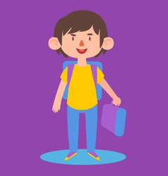 Cute boy ready to go back to school vector
