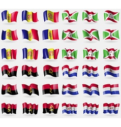 Andorra burundi angola paraguay set of 36 flags of vector
