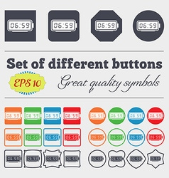 Alarm clock icon sign big set of colorful diverse vector