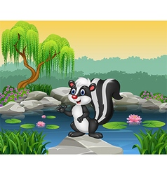 Cartoon skunk presenting on the rock vector