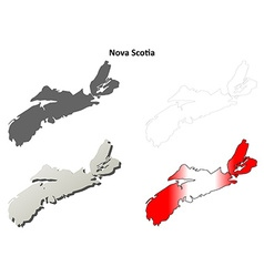 Nova scotia blank outline map set vector