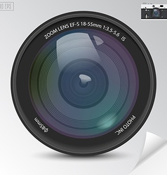 Realistic camera photo lens with shadows vector