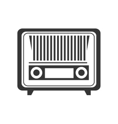 Antique radio stereo in black and white colors vector image