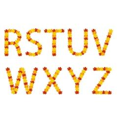 Autumn leaves alphabet letters vector