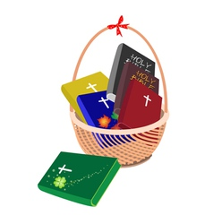 A Brown Basket with Six Holy Bible vector image