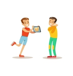 Boy showing tablet to friend child and gadget vector