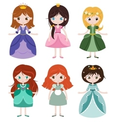Collection of beautiful princesses vector image vector image