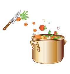 cooking soup with vegetables vector image vector image