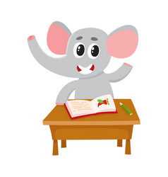 cute little elephant student character sitting at vector image vector image