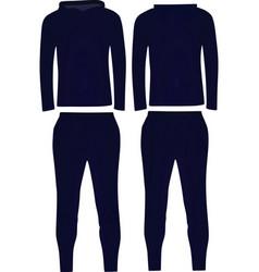 Dark blue hooded tracksuit vector