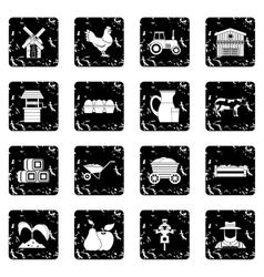 Farm icons set vector