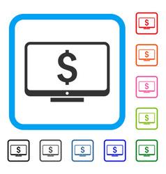 Financial monitoring framed icon vector