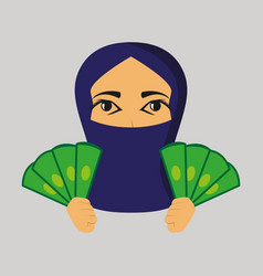 Flat icon on theme arabic business money muslim vector