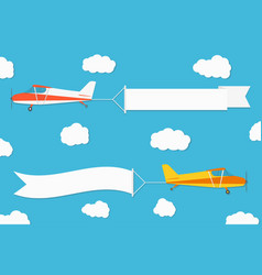flying advertising banner planes with horizontal vector image vector image