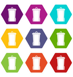 garbage bin icon set color hexahedron vector image