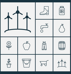 Garden icons set collection of bloom cask pail vector