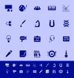 General learning color icons on blue background vector