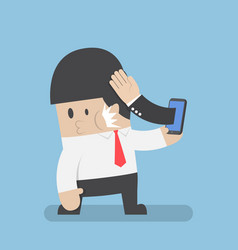 hand sticking out from smartphone and slapped vector image vector image