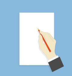 Hand with pencil and white sheet of paper vector