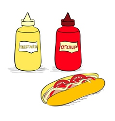 Ketchup and mustard bottles vector image