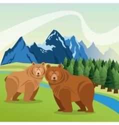 Landscape with animals designmountain icon vector