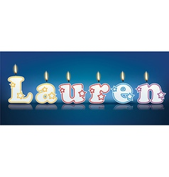 Lauren written with burning candles vector