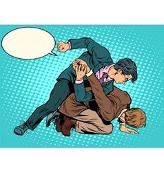 Men businessmen fighting vector