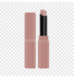 open tube of pink lipstick mockup realistic style vector image