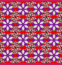 Seamless floral pattern with doodles flowers on vector