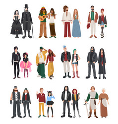 set of different subculture couple rapper vector image vector image