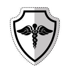 Shield insurance with medical symbol isolated icon vector