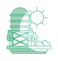 Silhouette water tank with trees and sun vector